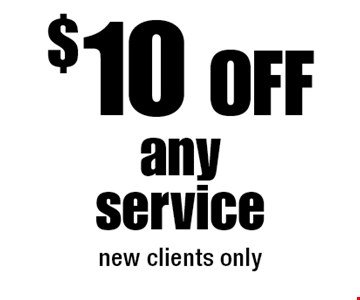 $10 Off any service (new clients only).