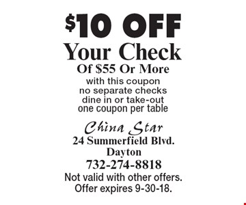 $10 OFF Your Check Of $55 Or More. With this coupon no separate checks dine in or take-out. One coupon per table. Not valid with other offers. Offer expires 9-30-18.