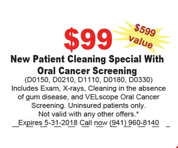 $99 New Patient Cleaning Special With Oral Cancer Screening