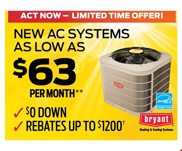 New AC systems as low as $63 per month