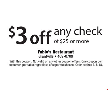 $3 off any check of $25 or more. With this coupon. Not valid on any other coupon offers. One coupon per customer, per table regardless of separate checks. Offer expires 6-8-18.