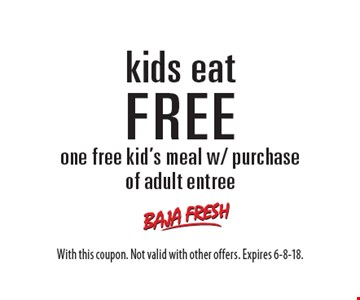 kids eat FREE one free kid's meal w/ purchase of adult entree. With this coupon. Not valid with other offers. Expires 6-8-18.