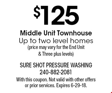 $125 Middle Unit Townhouse Up to two level homes (price may vary for the End Unit & Three plus levels). With this coupon. Not valid with other offers 