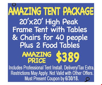 Amazing Tent Package. Amazing price $389 20'x20' high peak frame tent with tables & chairs for 40 people plus 2 food tables.