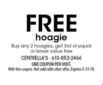 Free hoagie. Buy any 2 hoagies, get 3rd of equal or lesser value free. ONE COUPON PER VISIT. With this coupon. Not valid with other offer. Expires 5-31-18.