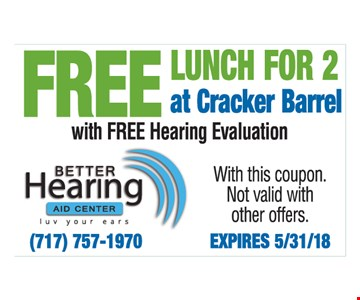 Free lunch for 2 at Cracker Barrel