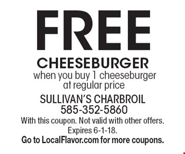 Free cheeseburger when you buy 1 cheeseburger at regular price. With this coupon. Not valid with other offers. Expires 6-1-18. Go to LocalFlavor.com for more coupons.