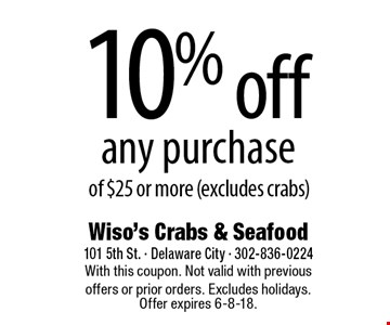 10% off any purchase of $25 or more (excludes crabs). With this coupon. Not valid with previous offers or prior orders. Excludes holidays. Offer expires 6-8-18.