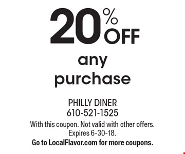 20% off any purchase. With this coupon. Not valid with other offers. Expires 6-30-18. Go to LocalFlavor.com for more coupons.