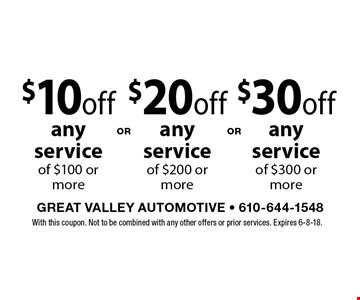 $10 off any service of $100 or more. $20 off any service of $200 or more. $30 off any service of $300 or more. With this coupon. Not to be combined with any other offers or prior services. Expires 6-8-18.