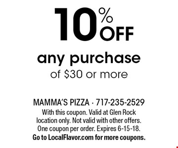 10% OFF any purchase of $30 or more. With this coupon. Valid at Glen Rock location only. Not valid with other offers. One coupon per order. Expires 6-15-18. Go to LocalFlavor.com for more coupons.