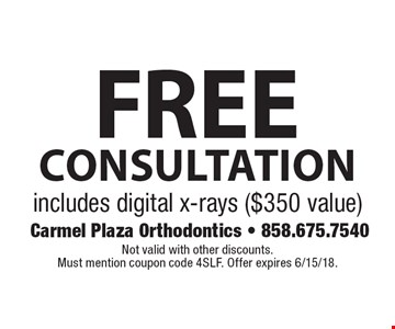 Free consultation. Includes digital x-rays ($350 value). Not valid with other discounts. Must mention coupon code 4SLF. Offer expires 6/15/18.