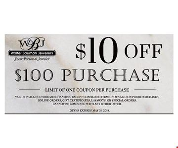 $10 off purchase of $100