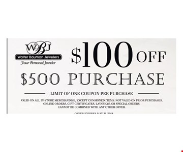 $100 off purchase of $500