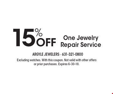 15% off one jewelry repair service. Excluding watches. With this coupon. Not valid with other offers or prior purchases. Expires 6-30-18.