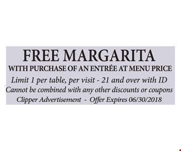 With purchase of an entree at menu price. Limit 1 per table, per visit -21 and over with ID.  Cannot be combined with any other discounts or coupons. Clipper Advertisement.