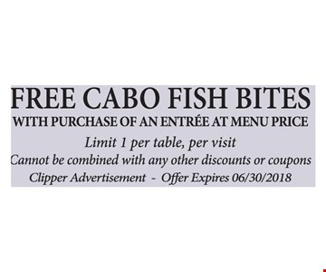 With purchase of an entree at menu price. Limit 1 per table, per visit.  Cannot be combined with any other discounts or coupons. Clipper Advertisement.