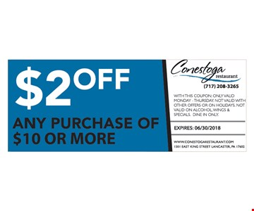 $2 off any purchase of $10 or more. Exp. 6-3-18.