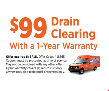 $99 Drain Cleaning