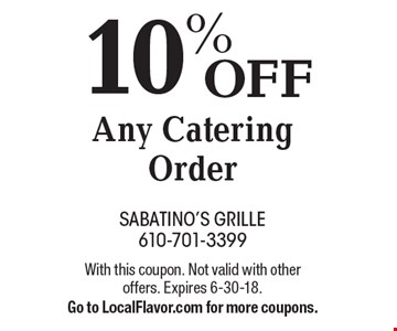 10% OFF Any Catering Order. With this coupon. Not valid with other offers. Expires 6-30-18. Go to LocalFlavor.com for more coupons.