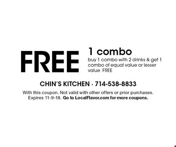 chins chinese kitchen free 1 combo buy 1 combo with 2 drinks get - Chins Kitchen 2