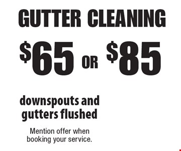 $65 OR $85 gutter cleaning downspouts and gutters flushed . Mention offer when booking your service.