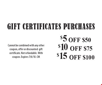 Gift Certificates Purchases: $5 OFF $50. $10 OFF $75. $15 OFF $100. Cannot be combined with any other coupon, offer or discounted gift certificate. Not refundable. With coupon. Expires 7/6/18. CM