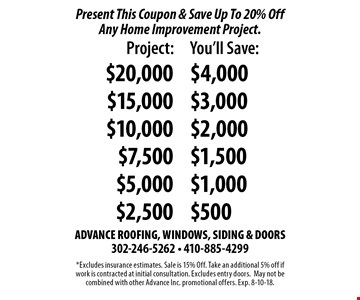Present This Coupon & Save Up To 20% Off Any Home Improvement Project. Project $20,000 you'll save $4,000 Project $15,000 you'll save $3,000. Project $10,000 $you'll save $2,000. Project 7,500 you'll save $1,500. Project $5,000 you'll save 1,000. Project $2,500 you'll save $500. *Excludes insurance estimates. Sale is 15% Off. Take an additional 5% off if work is contracted at initial consultation. Excludes entry doors.May not be combined with other Advance Inc. promotional offers. Exp. 8-10-18.