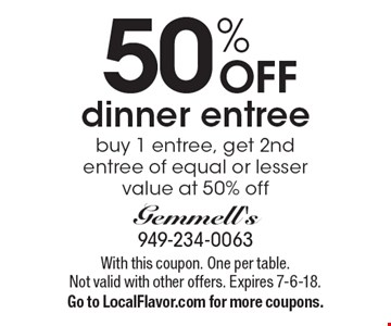 50% off dinner entree. Buy 1 entree, get 2nd entree of equal or lesser value at 50% off. With this coupon. One per table. Not valid with other offers. Expires 7-6-18. Go to LocalFlavor.com for more coupons.