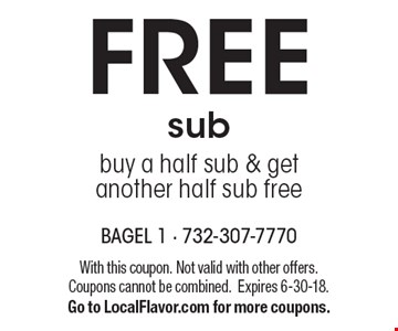 FREE sub. Buy a half sub & get another half sub free. With this coupon. Not valid with other offers. Coupons cannot be combined. Expires 6-30-18. Go to LocalFlavor.com for more coupons.