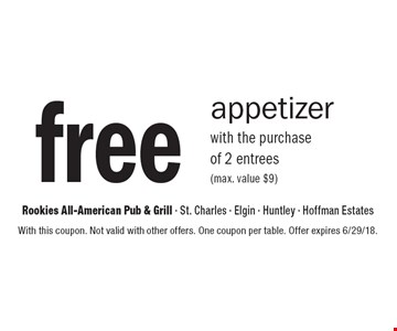 free appetizer with the purchase of 2 entrees (max. value $9). With this coupon. Not valid with other offers. One coupon per table. Offer expires 6/29/18.