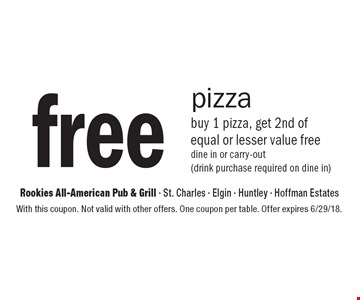 Free pizza. buy 1 pizza, get 2nd of equal or lesser value free dine in or carry-out (drink purchase required on dine in). With this coupon. Not valid with other offers. One coupon per table. Offer expires 6/29/18.
