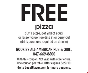 Free pizza. Buy 1 pizza, get 2nd of equal or lesser value free dine in or carry-out (drink purchase required on dine in). With this coupon. Not valid with other offers. One coupon per table. Offer expires 6/29/18. Go to LocalFlavor.com for more coupons.