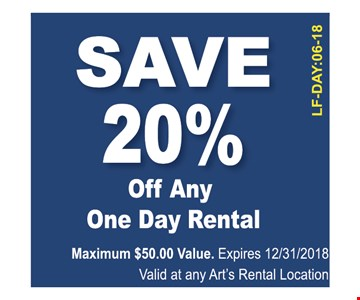 Save 20% off any one day rental. Maximum $50 value. Expires 12/31/18. Valid at any Art's rental location.