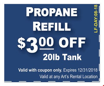 valid with coupon only. Expires 12/31/18 valid at any Arts rental Location