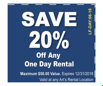 Maximum $50.00 value. expires 12/31/18 valid with coupon only. Expires 12/31/18 valid at any Arts rental Location