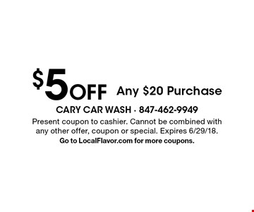 $5 Off Any $20 Purchase. Present coupon to cashier. Cannot be combined with any other offer, coupon or special. Expires 6/29/18.Go to LocalFlavor.com for more coupons.