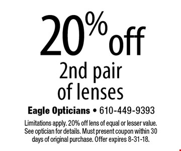 20% off 2nd pair of lenses. Limitations apply. 20% off lens of equal or lesser value. See optician for details. Must present coupon within 30 days of original purchase. Offer expires 8-31-18.