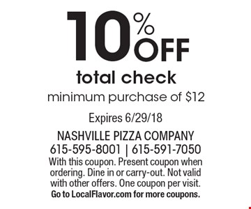 10% off total check minimum purchase of $12. With this coupon. Present coupon when ordering. Dine in or carry-out. Not valid with other offers. One coupon per visit. Go to LocalFlavor.com for more coupons. Expires 6/29/18
