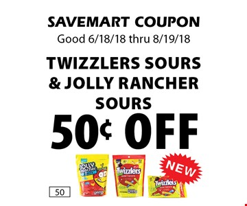 50¢ off Twizzlers Sours & Jolly Rancher Sours. SAVEMART COUPONGood 6/18/18 thru 8/19/18