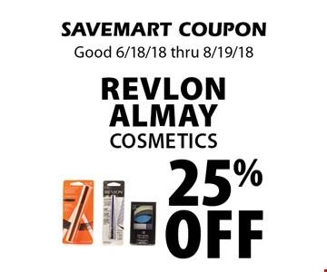 25% off Revlon Almay Cosmetics. SAVEMART COUPON Good 6/18/18 thru 8/19/18