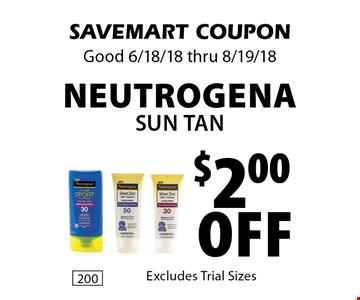 $2.00 Off Neutrogena Sun Tan. SAVEMART COUPON Good 6/18/18 thru 8/19/18