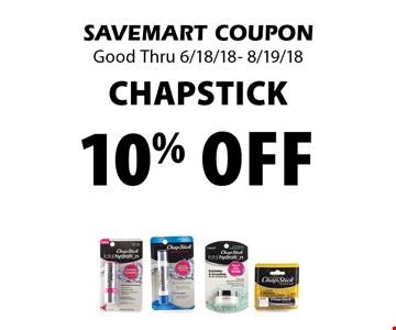 10% off chapstick. SAVEMART COUPONGood Thru 6/18/18- 8/19/18