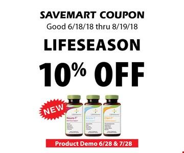 10% off Life Season. SAVEMART COUPON Good 6/18/18 thru 8/19/18