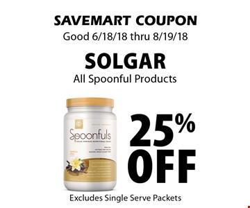 25% off Solgar All Spoonful Products. SAVEMART COUPON Good 6/18/18 thru 8/19/18