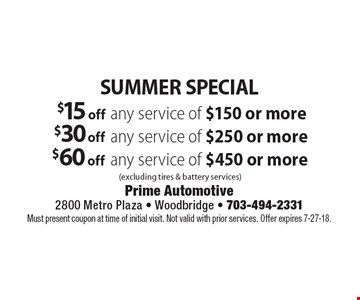 Summer Special. $15 off any service of $150 or more. $30 off any service of $250 or more. $60 off any service of $450 or more. (excluding tires & battery services). Must present coupon at time of initial visit. Not valid with prior services. Offer expires 7-27-18.