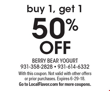50% OFF buy 1, get 1. With this coupon. Not valid with other offers or prior purchases. Expires 6-29-18. Go to LocalFlavor.com for more coupons.