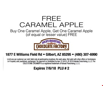 Free caramel apple. Buy one caramel apple, get one caramel apple (of equal or lesser value) free. Limit one per customer per visit. Valid only at participating locations. No cash value. Not valid with other offers or fundraisers. Or if copied, sold auctioned, exchanged for payment or prohibited by law. 27.0416_© 2018 Kahala Franchising, LLC. The Cold Stone Creamery is a registered trademark of Kahala Franchising, LLC. Expires 7/6/18 PLU # 2
