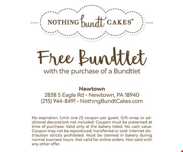 No expiration. Limit one (1) coupon per guest. Gift-wrap or additional decorations not included. Coupon must be presented at time of purchase. Valid only at the bakery listed. No cash value. Coupon may not be reproduced, transferred or sold. Internet distribution strictly prohibited. Must be claimed in bakery during normal business hours. Not valid for online orders. Not valid with any other offer.