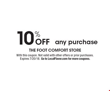 10% Off any purchase. With this coupon. Not valid with other offers or prior purchases. Expires 7/20/18. Go to LocalFlavor.com for more coupons.
